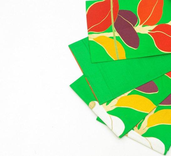袋帯●明るいグリーン カラフルで大きな葉っぱのサムネイル画像