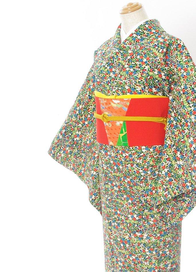 「2点セット*小花いっぱいの着物 パッチワークの帯」の商品画像