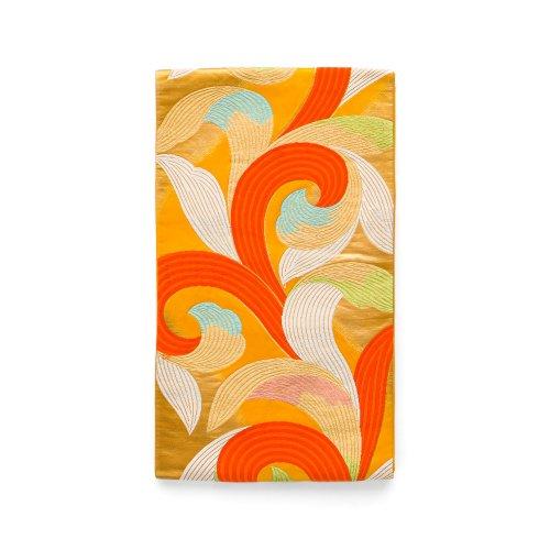 袋帯●オレンジの地 渦巻きみたい ボリューミな葉のサムネイル画像