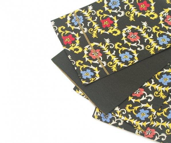 袋帯●セミアンティーク 黒地に花のサムネイル画像