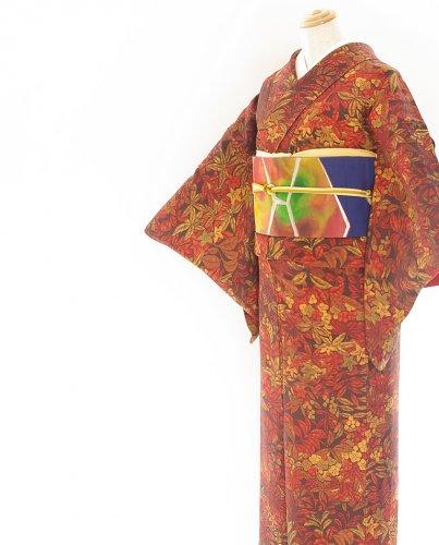 2点セット*濃茶に花や実 ステンドグラスのような幻想的な帯のサムネイル画像