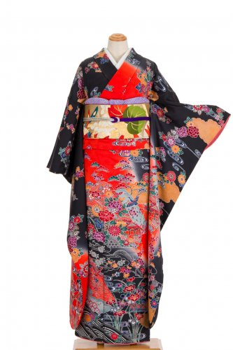 振袖 紅型 赤黒暈し 花に鶴のサムネイル画像