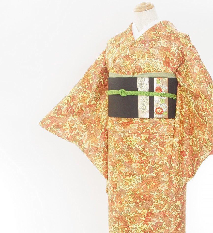 「2点セット*夕焼け色の菊・椿・紅葉柄小紋 花短冊織り出し名古屋帯」の商品画像