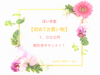 ぽいき堂【初めてお買い物】1,000円割引チケット!