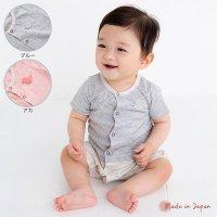 セパレート風 天竺半袖ロンパース/ブルー(Y-8004)