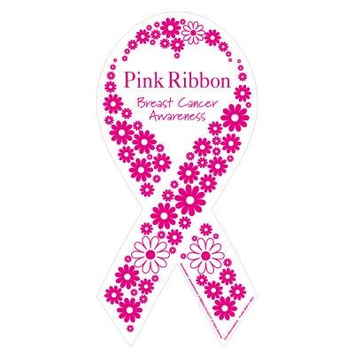 乳がん早期発見啓発ピンクリボンマグネット フラワーモデル Lサイズ