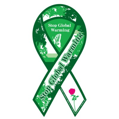Stop Global Warming(地球温暖化を止めよう)リボンマグネット