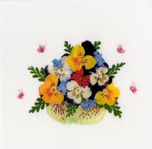 花柄(押し花)シール・花かご