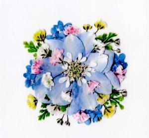 花柄(押し花)シール・青1