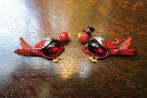 CORO 赤い小鳥のペアブローチ(S7204)