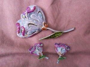 ART社 アネモネのようなお花のイヤリング・ブローチセット(S7847)