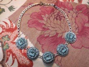 ターコイズ色のロータスのネックレス(S7920-2)