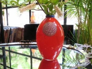 Robj  アールデコガラス花瓶 (aaa9)