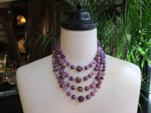紫ビーズの4連ネックレス(S)