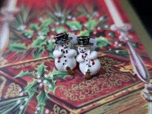 クリスマス スノーマンのピアス(S)