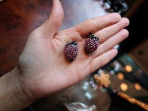 weiss ピンクのイチゴのイヤリング(S8495)