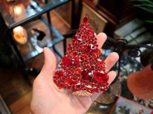 チェコ 中くらいの真赤なクリスマスツリー(S8532)