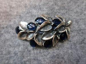 Elsa Schiaparell シルバーリーフ&ブルーグラスのブローチ(S8547)
