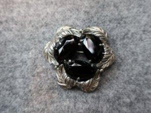 Elsa Schiaparell シルバーリーフ&ブラックグラスのブローチ(S8575)