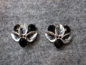 Elsa Schiaparell シルバースモールリーフ&ブラックグラスのイヤリング(S8574)