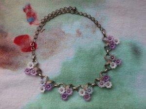ピンクのお花が並んだネックレス(S8680)