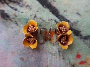 黄色いエナメルフラワーイヤリング(S8683-3)
