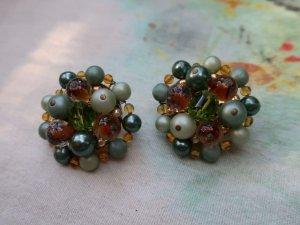 グリーンパールやガラスビーズのイヤリング(S8683-7)
