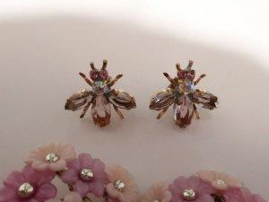 チェコビジュー 小さなハチのピアス スモーキーグレート×薄いピンク(S8538-5)