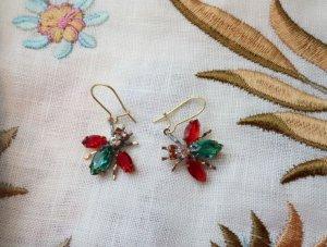 チェコビジュー 揺れる小さなハチのピアス 赤×緑(S8724)