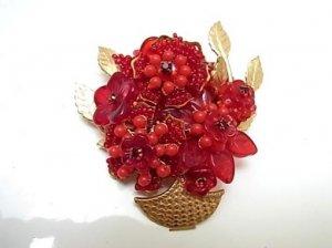 Stanley Hagler ハグラー 花かごブローチ 赤(S3967)