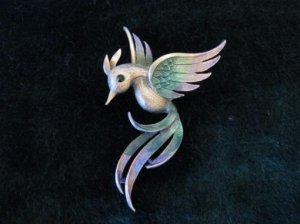 JJ 尾の長い綺麗な鳥ブローチ(S5291)