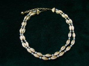 ヴィンテージ ゴールド×小粒のパール2連ネックレス(S6592)