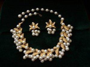 ヴィンテージ コロコロパールのネックレスとイヤリングのセット(S6927)