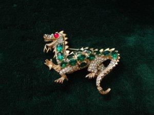 ヴィンテージ ケネスジェイレーン ドラゴンのブローチ 小 緑(S4202)