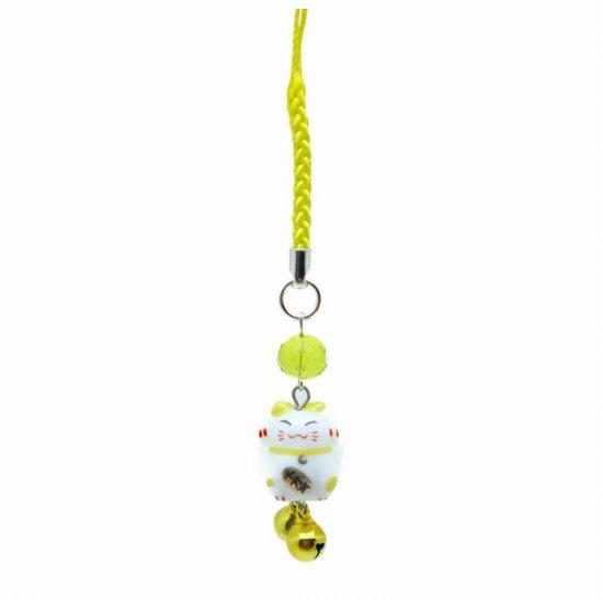 風水カラー 黄色 ミニ猫ストラップ 金運アップ