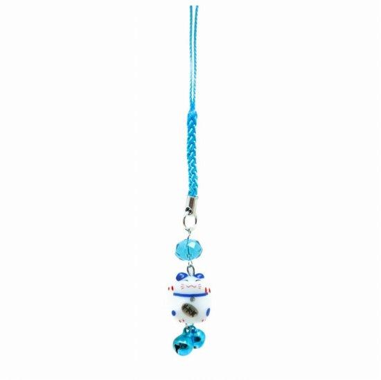風水カラー 青色 ミニ猫ストラップ 全体運アップ