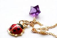 3つのLuckyチャーム♪てんとう虫&アメシストStar☆あこや真珠♪ペンダント♪