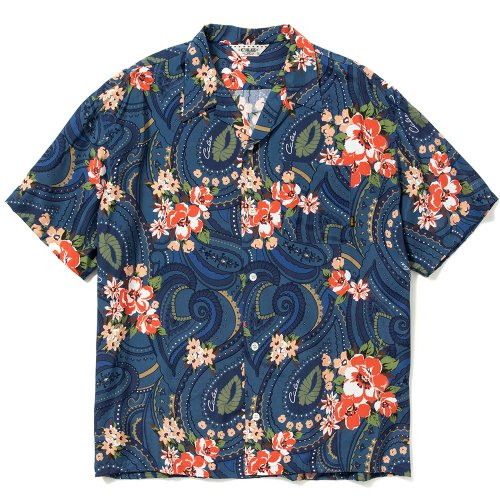 <img class='new_mark_img1' src='https://img.shop-pro.jp/img/new/icons15.gif' style='border:none;display:inline;margin:0px;padding:0px;width:auto;' />CALEE キャリー「Paisley pattern aloha S/S shirt」/Navy
