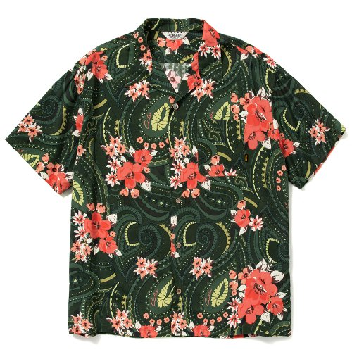 <img class='new_mark_img1' src='https://img.shop-pro.jp/img/new/icons15.gif' style='border:none;display:inline;margin:0px;padding:0px;width:auto;' />CALEE キャリー「Paisley pattern aloha S/S shirt」/Green
