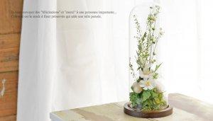 ガラスドームフラワー<br>ジャルダンルヴェール ブラン