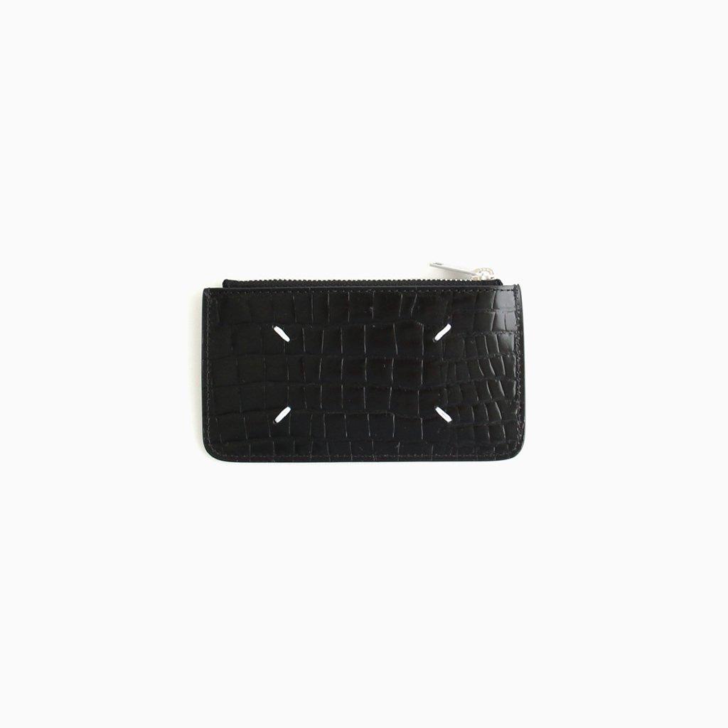 EMBOSSED CROCODILE ZIP CARD CASE #BLACK [S55UA0023]