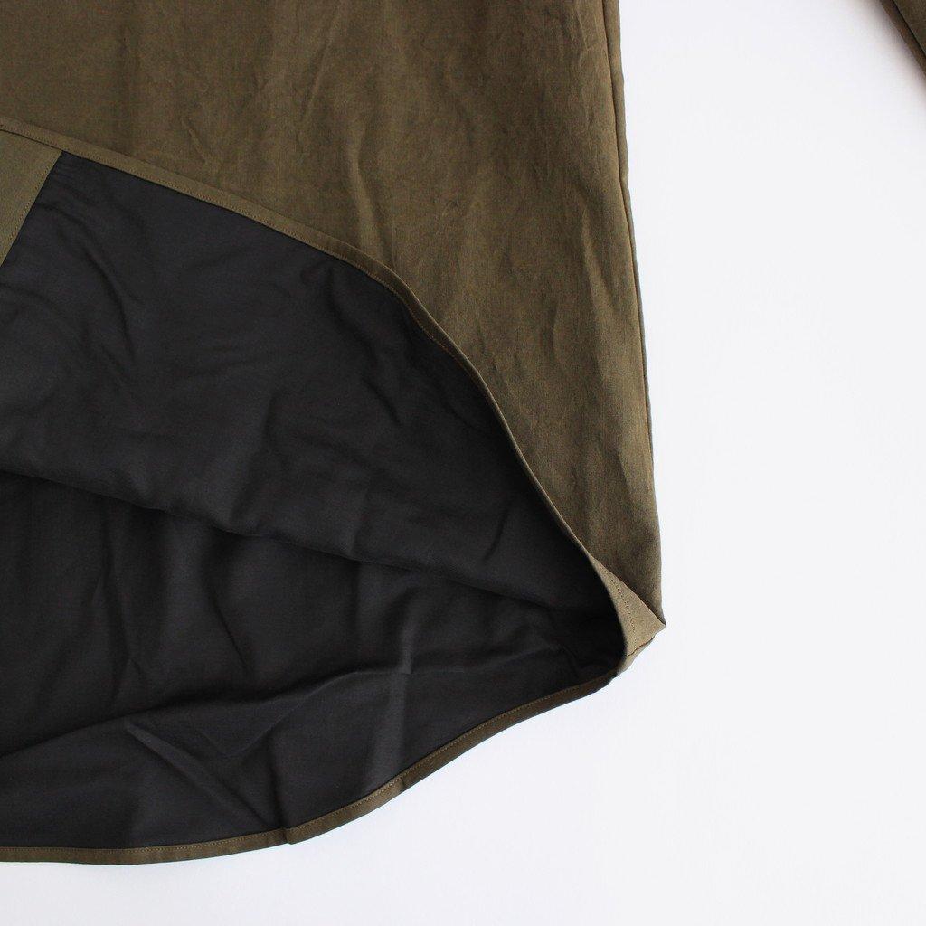 塩縮加工コットンリネンシャツ 羽衿付き #OLIVE [yc41]