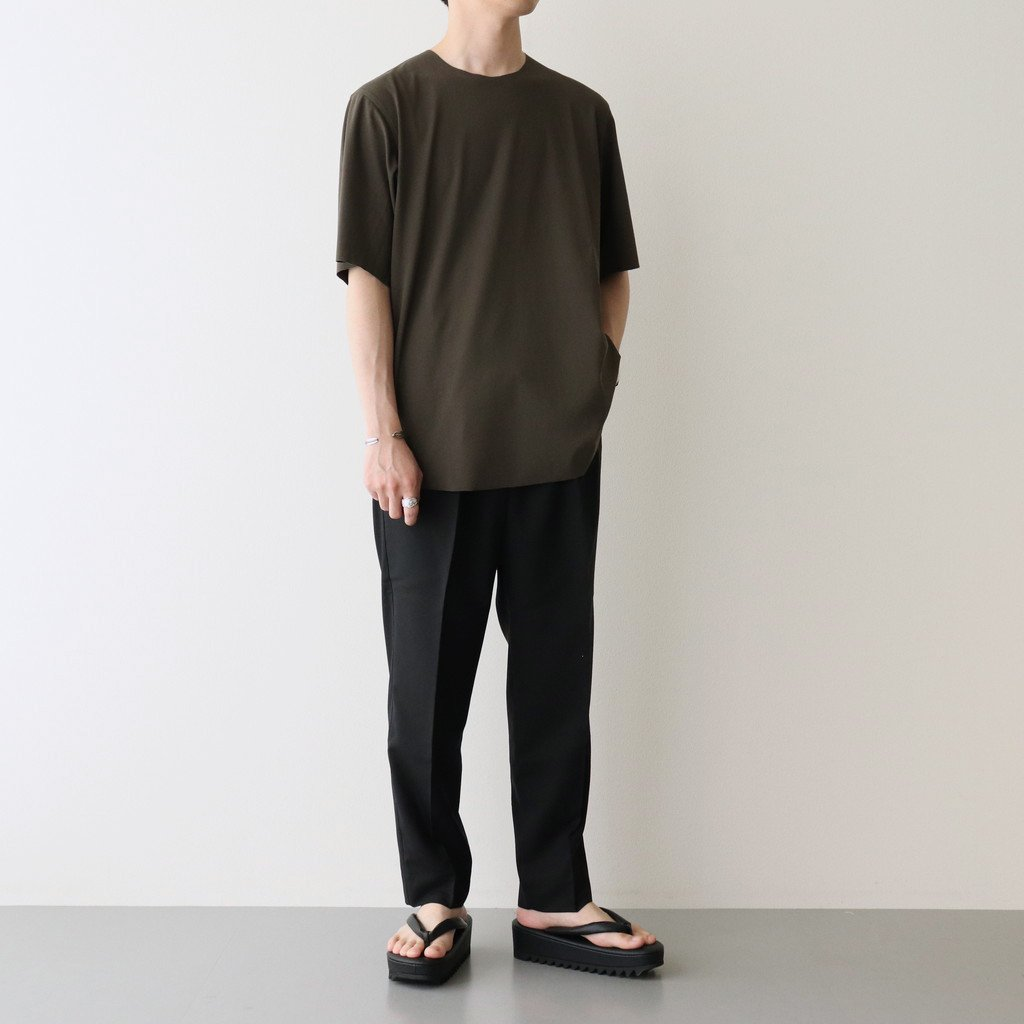60/- フリーカット強撚ポンチ Tシャツ #GRAY KHAKI [yc55]