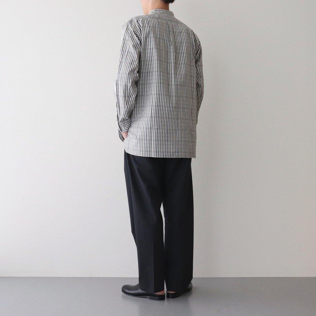 BAND COLLAR CHECK LONG SHIRT #OLIVE/GRAY [PMAL-LS07]