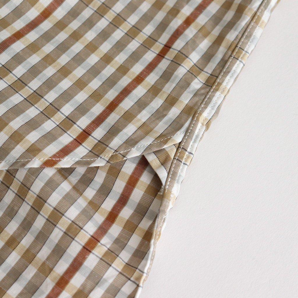BAND COLLAR CHECK LONG SHIRT #BEIGE/YELLOW [PMAL-LS07]