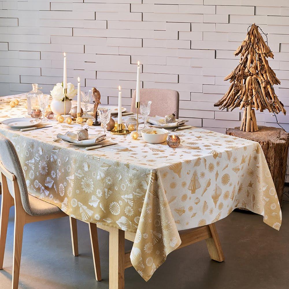 ガルニエティエボー テーブルクロス(撥水なし) ミルメリー ゴールド