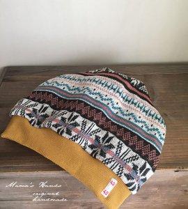 (cn-695)  #42 カラフル 結晶 綿 ゆったり ニット帽子(ハンドメイド)