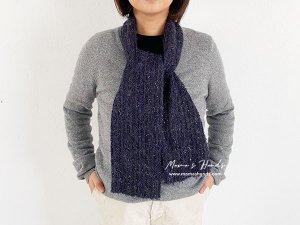 (co-917)  ウール 紺 紫 良品質 素敵な織りの スカーフ マフラー(ハンドメイド)