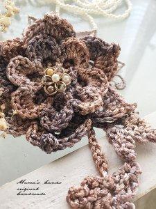 (cp-76) 手編み ピンク系 花 スカーフ留め コサージュ ブローチ(ハンドメイド)
