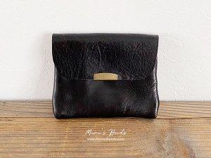 (cp-281)  革 黒 ブラック お財布/ カードケース B(ハンドメイド)
